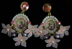 1998 Virgin Mary Magical Flower Crystal Pearl Studs Earrings