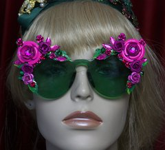 SOLD! 2033 Green Clear Fuchsia Roses Embellished Sunglasses