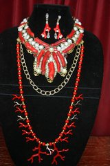 2398 Genuine Coral Biwa Baroque Pearl Stunning Necklace+ Earrings