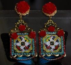1242 Sicilian Lemon Print Rose Crystal Studs Earrings