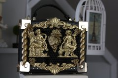 SOLD! 562  COLLECTIBLE Total Baroque 3D Effect Gold Greek Statues Purse Handbag Clutch