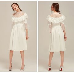 2418 Designer Inspired Runway Elegant White Ruffle Tulle Dress US2-US4