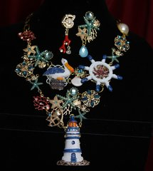 SOLD! 1774 Set Of Unusual Marine Sea Beautiful Necklace+ Earrings