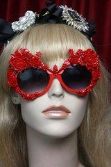 SOLD! 2508 Total Baroque Red Enamel Embellished Flower Sunglasses