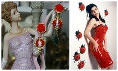 1277 Designer Inspired Ladybug Rose  Enamel Studs Earrings