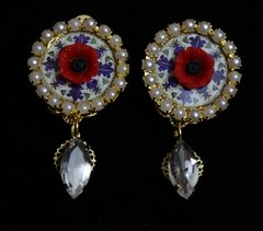 1922 Sicilian Tile Poppy Crystal Studs Earrings