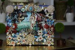 SOLD! 755  Birth Of Venus Embellished One Of A Kind Cigar Box Crossbody Handbag
