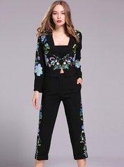 2094 Designer Stunning Embroidery  Crop Pants Black Twinset