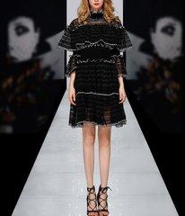 2195 High-End Designer Inspired Ruffle Lace Black Mini Dress