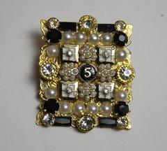 1688 Madam Coco Number 5 Huge Crystal Pearl Brooch