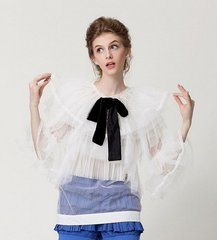 1566 Drama Ruffles Two Colors Bow Fancy Blouse