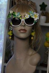 SOLD! 482  UV 400 Zibellini Greek Grape Hand Painted Embellished Spring Unusual Sunglasses