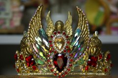 1072  Unisex Gold Art Nouveau Goddess Red Crystal Cherub Unusual Crown Tiara
