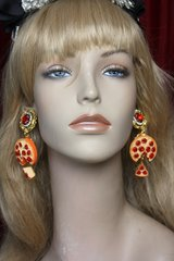 2518 Baroque Pizza Slice Red Crystal Studs Earrings