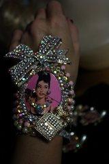 SOLD! SET Earrings+Audrey Hepburn Romantic Crystal Pearl Cuff Bracelet
