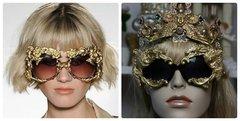 1149 Total Baroque Gold Embellished Curved Lion Sided Sunglasses