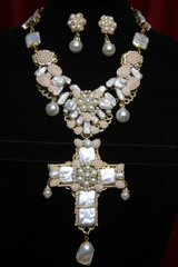 SOLD! 2273 Baroque Biwa Pearl Huge Cross Necklace+ Earrings Set