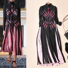 1811 Designer Inspired Trendy Spring 2017 Pleated Mid Cuff Dress