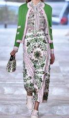 1556 Runway Floral Print Blouse+ Skirt Twinset