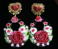 SOLD! 2283 Baroque Hand Painted Rose Heart Studs Earrings