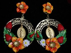 1954 Madonna coin Sicilian Inspiration Strawberry Ornage Flower Huge Earrings