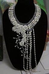 SOLD! 1207 Bridal Genuine Water Pearl Long Flower Necklace