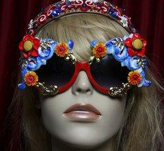 1824 Designer Inspired Baroque Blue Gold Embellished Sunglasses
