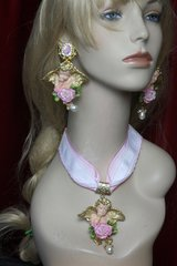 SOLD! 2462 Baroque Massive Vivid Cherub Hand Painted Choker Set