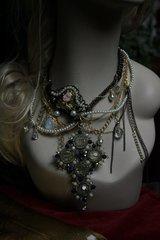 Baroque Designer Inspired Cherub Wired Crystal Cross Irregular Statement Necklace
