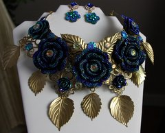 349  Set Chunky cobalt Blue Rose statement Necklace + Earrings
