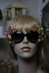 SOLD! 425 Cherub Heart Rhinestone Butterfly Embellished Fancy Eyewear Sunglasses