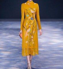 2076 US4 Heavy Crochet Bird Applique 2 Colors Mid Cuff Dress