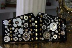 SOLD! 566 Designer Inspired Runway Madam566 Coco Brooches Embellished Corset Waist Belt Size S, M