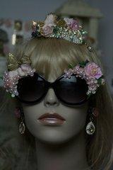 SOLD! 598  Amazing Baroque Vivid Sleeping Cherub Pale Pink Flowers Fancy Sunglasses Eye Wear UV 400