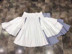 2198 2 Colors Off Shoulder Cotton 100% Top Blouse