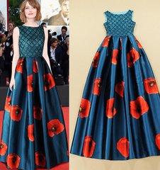 283 Celebrity Red Carpet Poppy Print Stunning Blue Maxi Dress