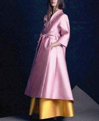 2265 Designer Insppired Double Effect Pink Satin Overknee Outwear Light Coat