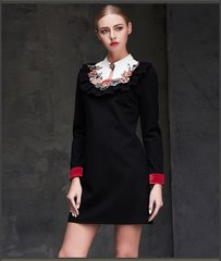 2373 Designer Elegant Poppy Embroidery Black Mini Dress