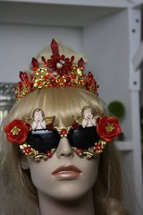 1201 Total Baroque Cherub Red Rose Embellished Sunglasses