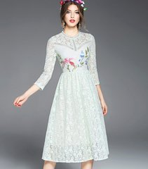 2127 Lace Print Stunning Min Knee Length Dress