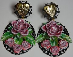 SOLD! 2413 Baroque Hand Painted Heart Rose Massive Studs Earrings