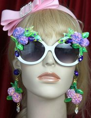 SOLD! 2599 Hydrangea Hand Painted Blue Crystal Embellished Sunglasses