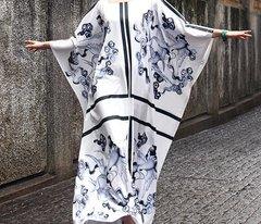 691 Designer Awan Striped Cafftan Abaya Maxi Dress