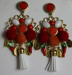 1108 BAroque Tassel Pom Pom Studs Earrings