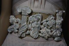 SOLD! 1776 Roman Ruins Unusual Tall Corset Waist Belt