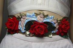 SOLD! 1755 Baroque Cherubs Velvet Red Rose Embellished Waist Belt