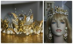 1174 Bridal Pearl Cherub Crystal Lace Tiara Crown