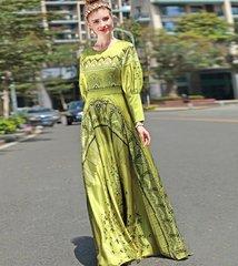 2170 Designer Inspired Silk Blend Bird Print Gown Maxi Dress US2- US4