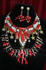 SOLD! 2397 Huge Genuine Coral Baroque Pearl Biwa Necklace Set