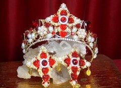 2316 Baroque Red Crystal Pearl Cross Crown Tiara